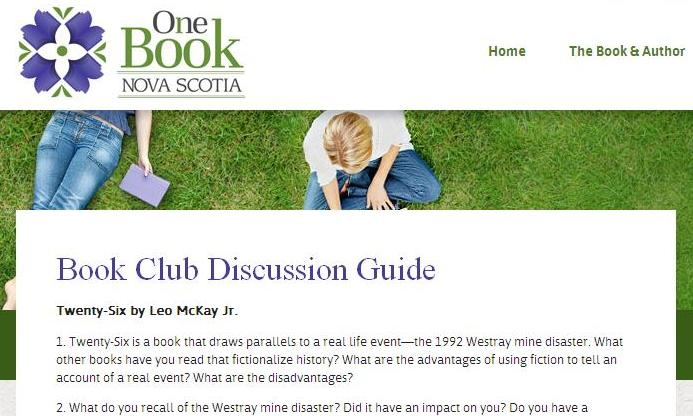 Image to link to the one book nova scotia book club questions page